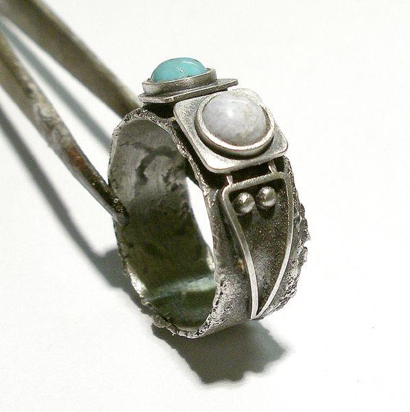 Srebrny Pierścień|Turkus|Agat|Silver Ring|Handmade|By Norman Man Jewellery