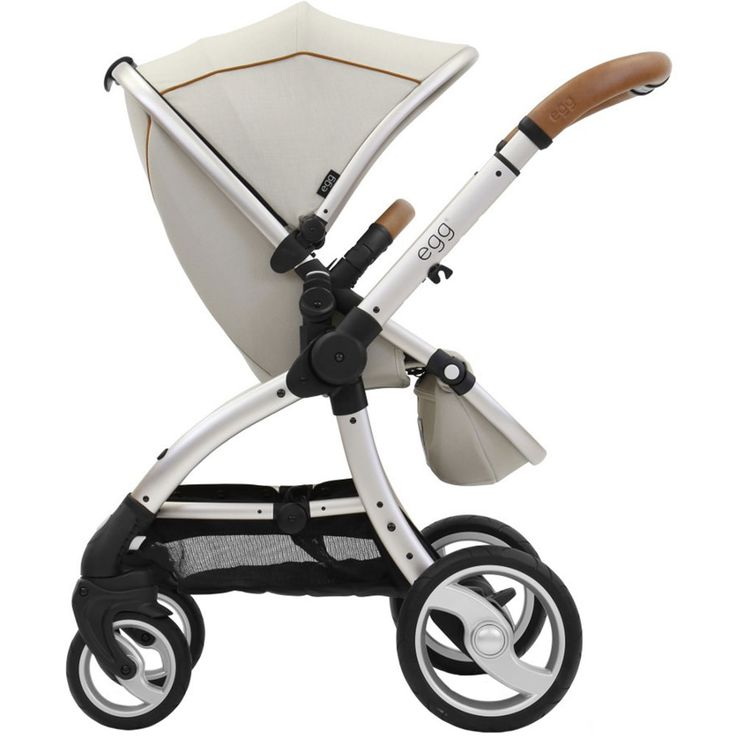 egg Stroller Prosecco. This stunning designer pram from #eggpram has a light off while prosecco wine fabric silver chassis complemented with Tan Leather Handle #tanleatherhandle #babyandco