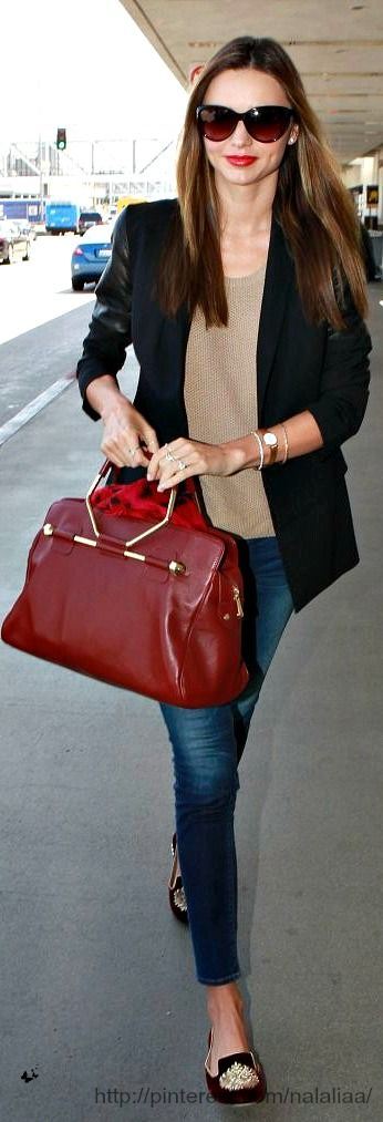 Black, cafe au lait, white. The red bag is the accent!