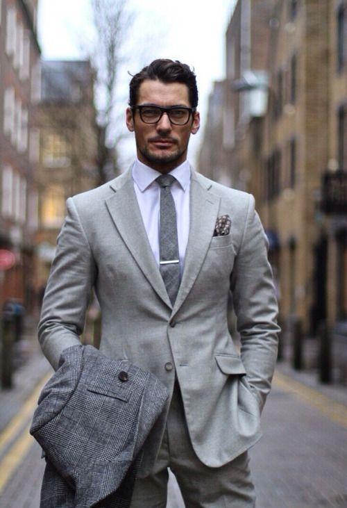 legend // david gandy, suit, grey, menswear, mens style, gray, summer suit, fall style, tie bar, glasses, street style, male model