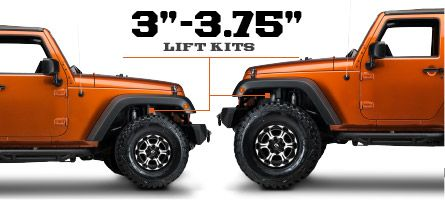 Jeep JK Lift Kits 3 - 3.75 Inch (2007-2015 Wrangler)