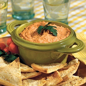 Healthy Appetizer Recipes | Red Pepper Hummus | SouthernLiving.com recipes