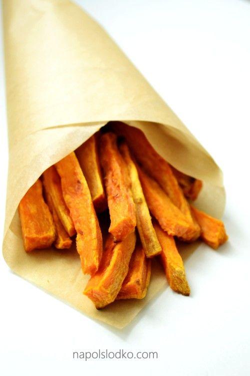 Pieczone frytki z batatów - Na pół słodko