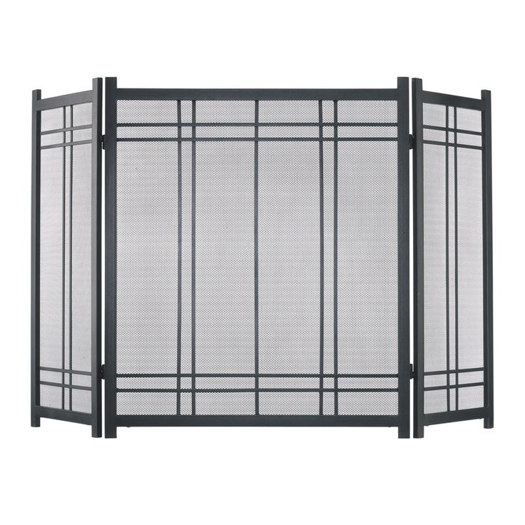 Pleasant Hearth 52-in Vintage Iron Steel 3-Panel Craftsman Fireplace Screen