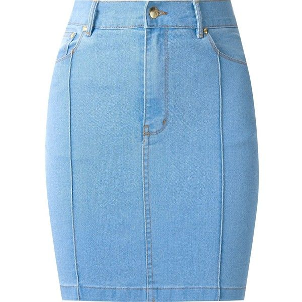 Amapô high waist fitted denim skirt ($179) ❤ liked on Polyvore featuring skirts, blue, high-waisted skirts, blue denim skirt, button-front denim skirts, blue high waisted skirt and fitted skirts