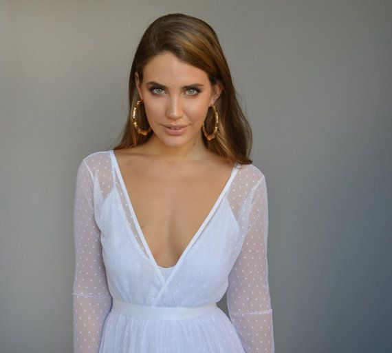 Boho wedding dress/bohemian wedding dress/long sleeve by Barzelai