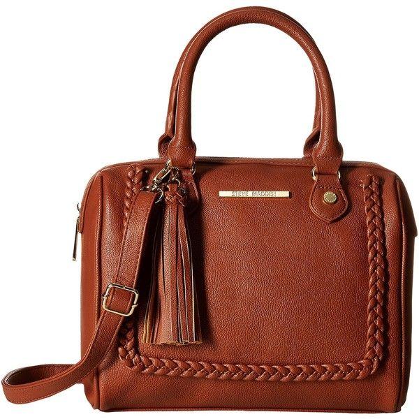 Steve Madden Mini Jessa Braid (Cognac) Satchel Handbags ($30) ❤ liked on Polyvore featuring bags, handbags, tan, brown satchel purse, steve madden satchel, mini purse, brown purse and steve madden purses