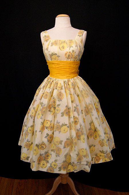 1950's Chiffon and Taffeta Dress