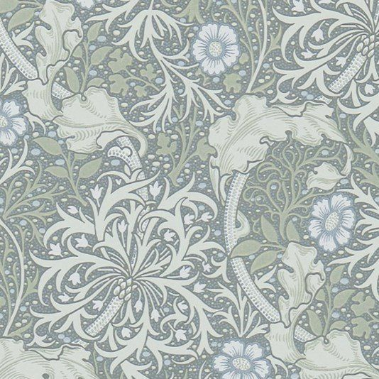 Morris Seaweed Wallpaper From the Morris & Co collection 'Morris Seaweed' design in silver and ecru shows a free flowing and sinuous pattern which captures the underwater movement of plants.