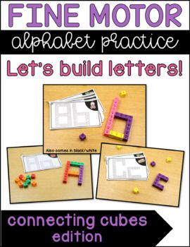 Connecting Cubes Alphabet Task Cards - Build all the letters of the alphabet with these connecting cube alphabet task cards! Letter building activities with snap cubes and linking cubes. A great way to incorporate STEM in Kindergarten! Use in a literacy center, morning work tub, or as a Kindergarten STEM activity. Students practice uppercase and lowercase letters while building fine motor skills. Each task card is half page and includes both upper case letter learning | learning letters
