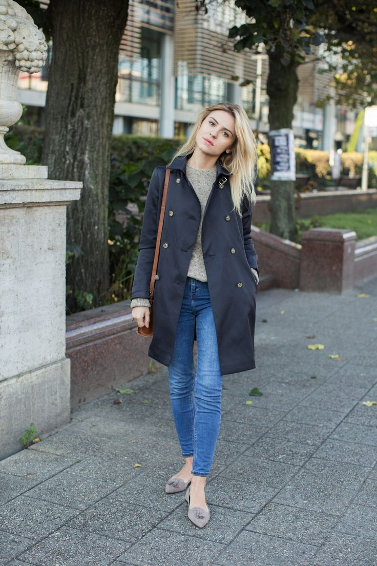 jeans / dżinsy – Topshop    flats / mokasyny – Pretty Ballerinas    leather bag / skórzana torebka – mint&berry on Zalando.pl    coat / płaszcz – Massimo Dutti (podobny tutaj)    sunglasses / okulary – Ray-Ban     sweater / sweter – COS