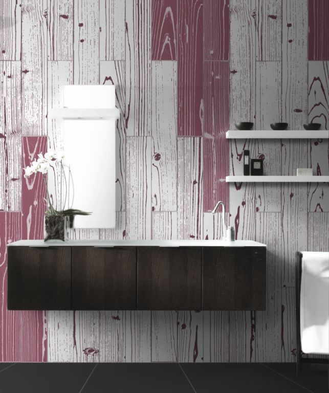 Awesome bathroom feature wall using coloured timber tiles available at Signorino Tile Gallery