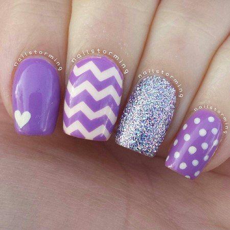 Lavender and White Chevron, Polka-Dots, Heart and Sparkle Nail Art - Teen Fashion - follow @Teen Fashion