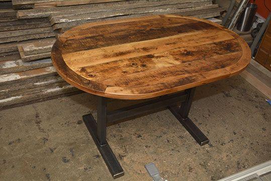 Custom Reclaimed Live Edge Barn Wood Steel Metal Flat Square X Round Dining Table + Furniture Kitchener Toronto Guelph Hamilton