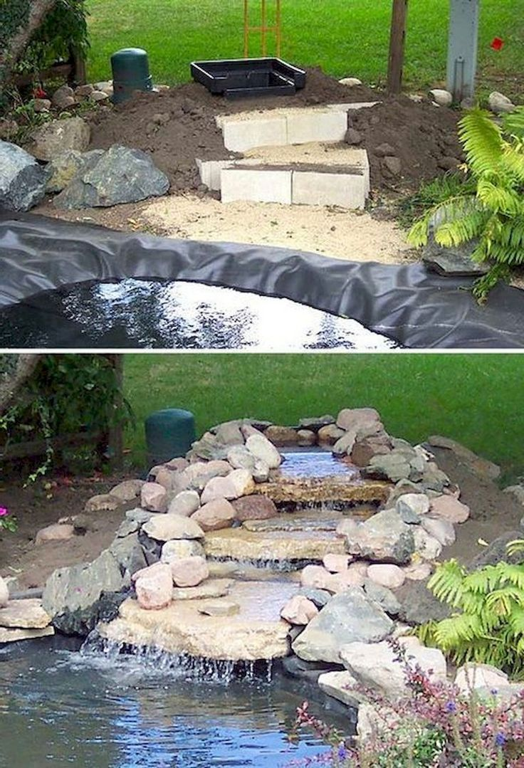 65+ Beautiful Yard Waterfall And Pond Landscaping Concepts