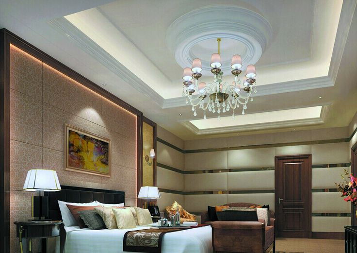 bedroom design - bedroom with suspended ceiling feturing ceiling dome and indirect lighting - ceiling design