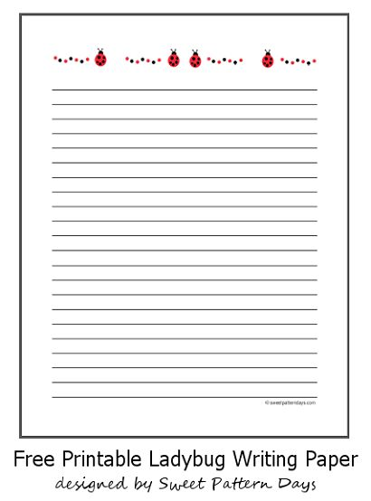 small ladybugs lined writing paper