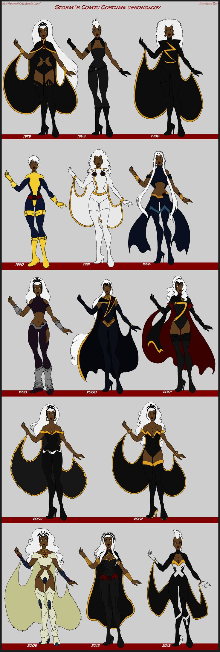 X-Men - Storm Comic Costume Chronology by Femmes-Fatales.deviantart.com on @deviantART