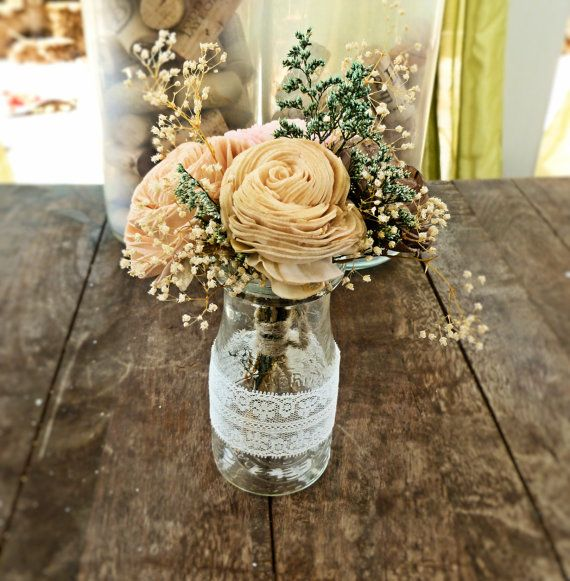 Wedding Centerpiece Flowers, Mini Arrangement, Milk Bottle, Wedding Reception, Aisle Flowers, Wedding Decor, Sola Flowers, Rustic Wedding on Etsy, $20.00