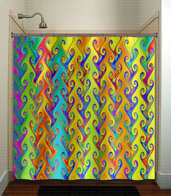 Rainbow colors multicolor bright colorful shower curtain for Coloured bathroom accessories set