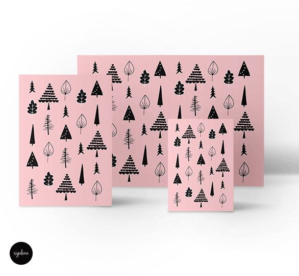 Christmas poster, Christmas trees illustration, Black, White and Pink, Gift Ideas, Christmas gift, Scandinavian decor, Free shipping by Sigaluna on Etsy