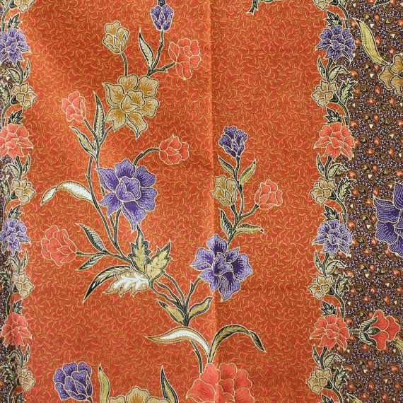 brown and orange with purple  flowers  print 100% by TheThailand