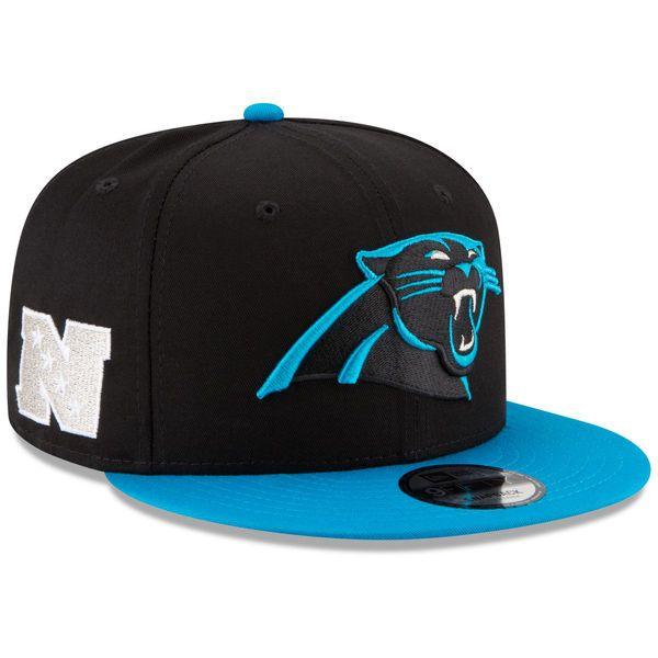 New Era Carolina Panthers Baycik Snapback Adjustable Hat - Black/Panther Blue