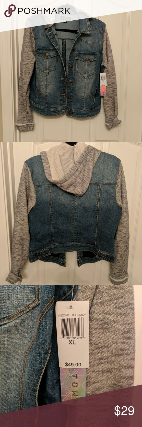 NWT Hooded Jean Jacket Junior's hooded Jean jacket with sweatshirt arms/hood. Brand new with tags still on!! I have one I kept for myself but I have no idea how I ended up buying 2! LOL!!  ***I ship in 3 biz days or less*** Tinseltown Jackets & Coats Jean Jackets