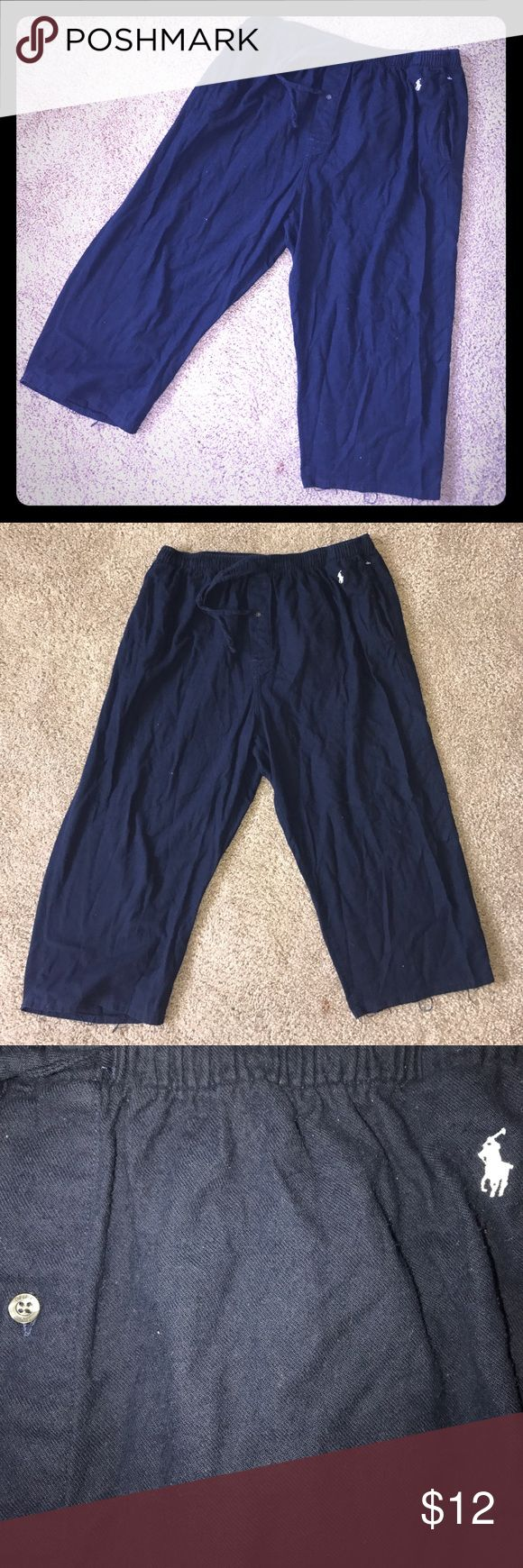 XL Polo Ralph Lauren blue flannel capris PJ bottom Men's flannel Drawstring waist, button crotch, pocketed capris like pajama bottoms. GUC minor cotton piling. Overall great condition Polo by Ralph Lauren Underwear & Socks Boxers