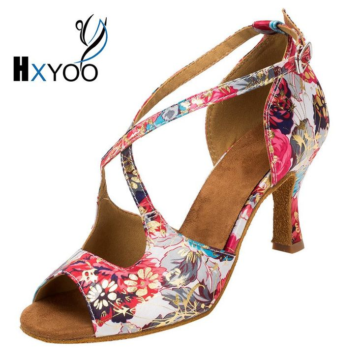 HXYOO 2017 Professional Salsa Shoes Dance Latin Women Ballroom Shoes Ladies Satin Soft Sole Buckle Red Flower WK013