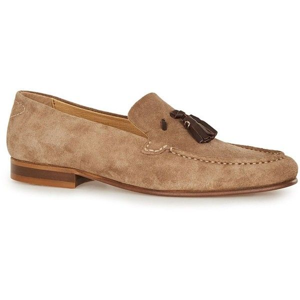 TOPMAN Hudson Brown Suede Tassel Loafers (€125) ❤ liked on Polyvore featuring men's fashion, men's shoes, men's loafers, brown, mens brown shoes, mens brown loafer shoes, mens tassel loafer shoes, suede tassel loafers mens shoes and mens tassel shoes