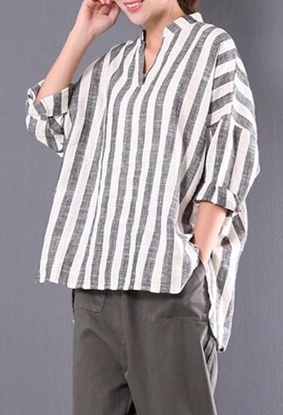 9e26faea25 NEW ZANZEA Autumn Long Sleeve V Neck Loose Asymmetrical Shirt Women Retro  Cotton Linen Striped Baggy Blouse Plus Size M 5XL-JetSet-JetSet