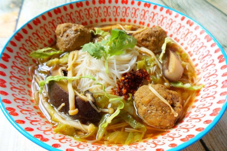 Mushroom Meatball Noodle Soup   Mayer Airfryer Giveaway!