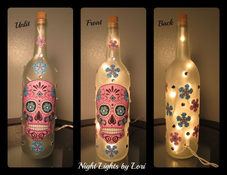 Skull Wine Bottle Night Light - My Sugar Skulls
