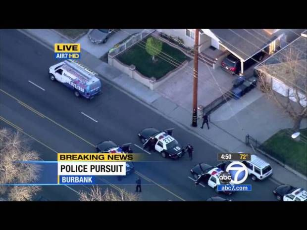 Southern California Police Pursuit Drunk Driver In Solar Energy Work Van (KABC)