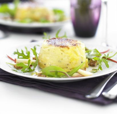 Twice-baked goat's cheese soufflés with apple & walnut salad | BBC Good Food