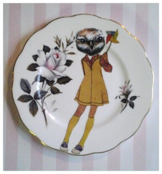 Quirky vintage plates by Terry Angelos via www.deZAign.com