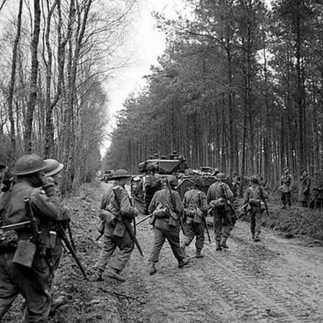 Canadian soldiers of the Seaforth Highlanders during the Battle of the Reichswald, 1945. Source ...
