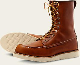 "Red Wing 8"" Brown No.877 Classic Moc. Leather finish: Oro Legacy Leather."