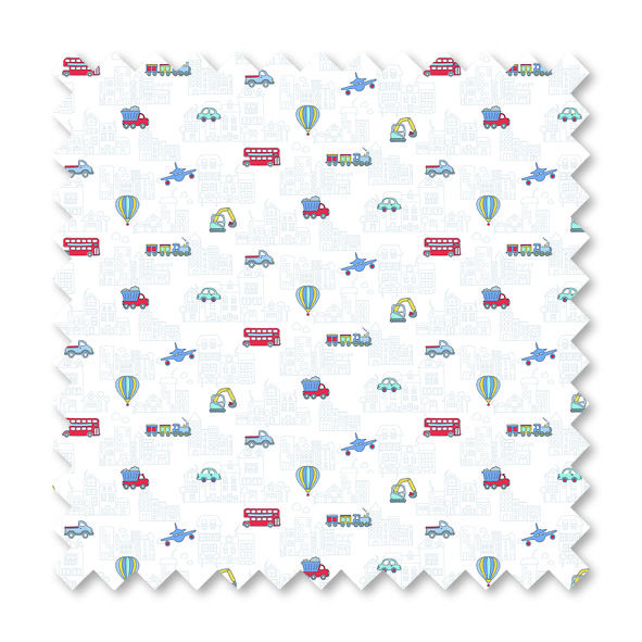 'Beep Beep Charlie' - Senses fabric, available in our Roller range too!
