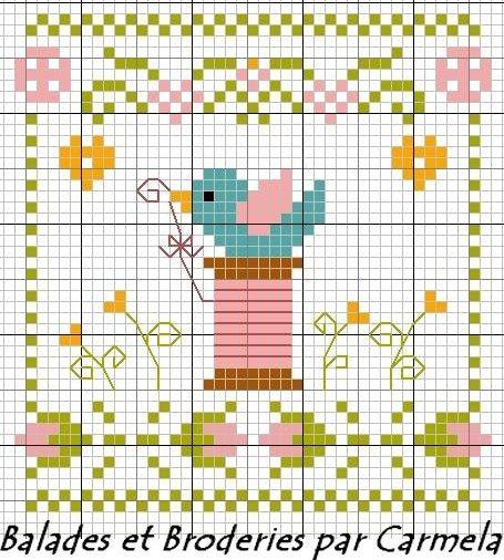 Oiseau de Printemps, cute freebie by balades-et-broderies