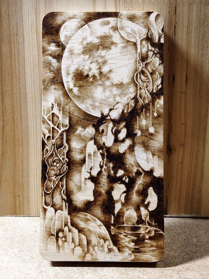 Moon garden maple pyrography wood burning furniture