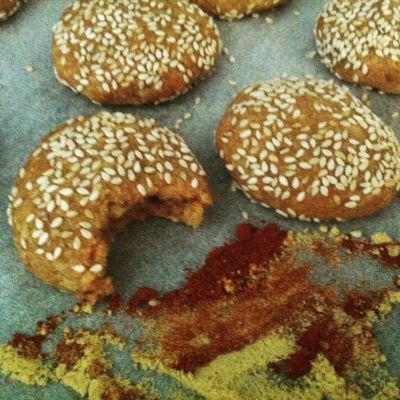 Paprika Sesame Bites.  These healthy cookies are loaded with heart-healthy mono-saturated fatty acids.