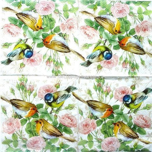 Ubrousky 33 x 33 cm | Zvířata - MOTÝLI, PTÁCI | Růže a ptáci | Decoupage, ubrousky, dekorace, Twist Art