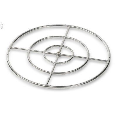 "American Fireglass Triple Stainless Steel Fire Pit Ring Burner (Set of 6) Size: 1"" H x 30"" W x 30"" D"