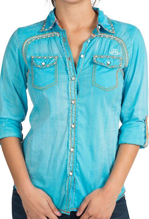 Roar® Splendor Turquoise & Orange Floral Embroidery & Crystals Long Sleeve Western Shirt