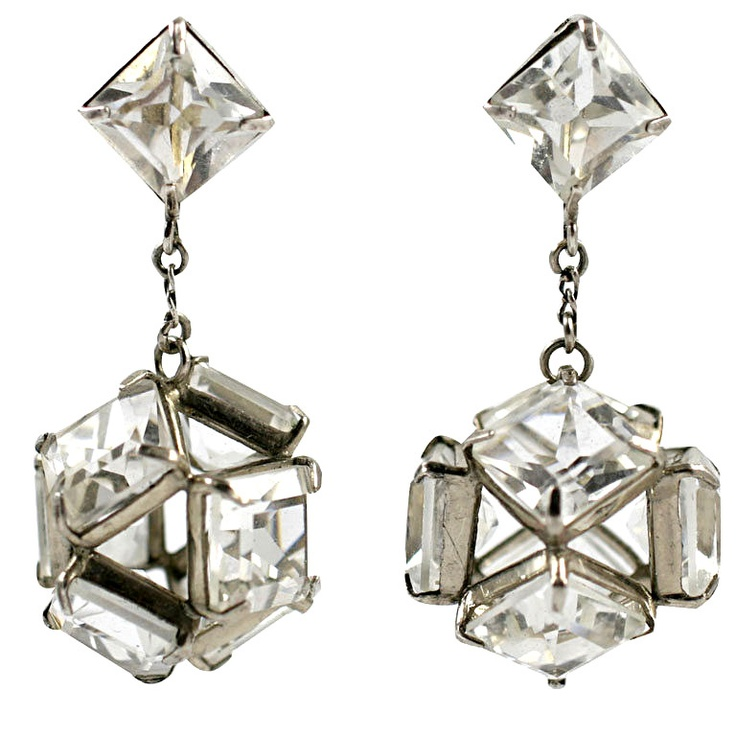 Art Deco Sterling and Rock Crystal Chandelier Earrings ❤ liked on Polyvore