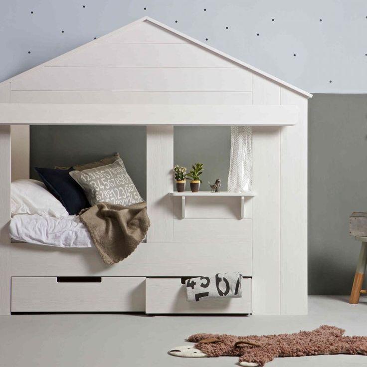Woood Huisie Kinderbett in Hausform mit Fenster und Schubladen, weiß