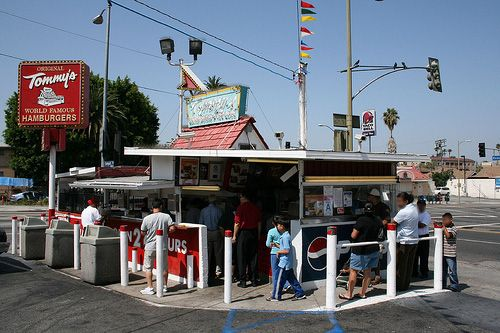 Tommy's...the original one on Rampart and Beverly Blvd., where you'd see 'diners' arrive on motorcycles, on foot, or in limos at all hours and where the chili on the burger was mandatory.