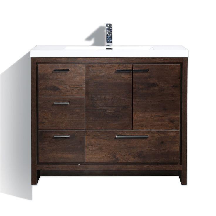"""MORENO DOLCE 42"""" ROSEWOOD MODERN BATHROOM VANITY W/ LEFT SIDE DRAWERS -  Bathroom Vanities"""